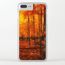Fall Trees (orange) Clear iPhone Case