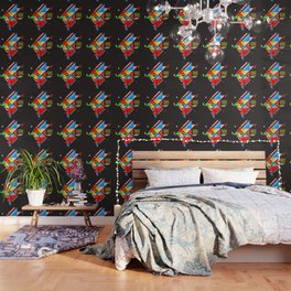 Vintage Abstract Art Colorful Geometric Shape Pattern with an Eye Wallpaper