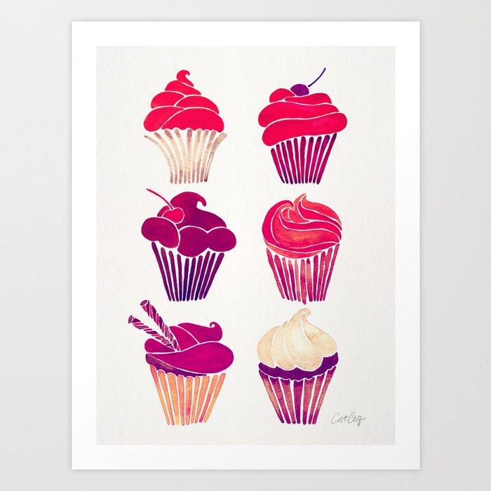 Cupcakes – Fuchsia Palette Art Print