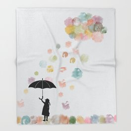Colorful snow in Winter Throw Blanket