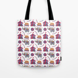 Colorful red blue gray watercolor elephant circus pattern Tote Bag