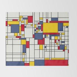 World Map Abstract Mondrian Style Throw Blanket