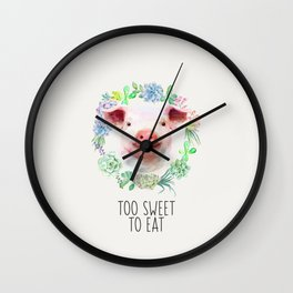 Too Sweet to Eat Vegan Statement Pig Watercolor Wall Clock