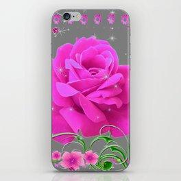 ROMANTIC CERISE PINK ROSE GREY ART RIBBONS iPhone Skin