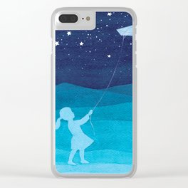 Girl with a kite, blue kids watercolor Clear iPhone Case