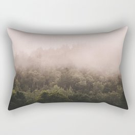 Pink Foggy Forest Landscape Photography Nature Earth Rectangular Pillow