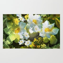 """""""White flowers forest"""" Rug"""