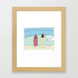 Boards on the beach Framed Art Print