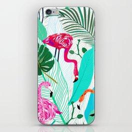 Tropical Flamingo Pattern iPhone Skin