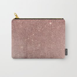 Girly Glam Pink Rose Gold Foil and Glitter Mesh Carry-All Pouch