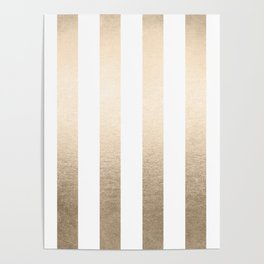 Simply Vertical Stripes in White Gold Sands Poster