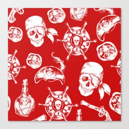 Red Pirate Pattern Canvas Print