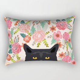Black Cat cat breed floral pattern background pet gifts cats kitten mom gifts Rectangular Pillow