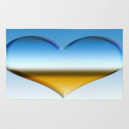 Blue heart with golden touch  Rug