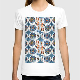 blue circle balinese ikat print mini T-shirt