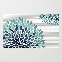 Blooms and Stripes, Aqua and Navy Rug