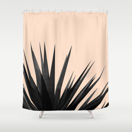 Black Palms on Pale Pink Shower Curtain