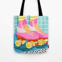 The Right Stuff - retro throwback 80s style rollerskates skating rink trendy 1980's Tote Bag