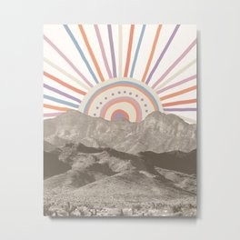 Summerlin Mountain Up // Abstract Vintage Mountains Summer Sun Surf Beach Vibe Drawing Happy Wall Ha Metal Print