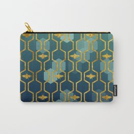 golden gometric bee pattern Carry-All Pouch