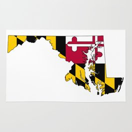 Maryland Map with Flag of Maryland Rug