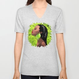Woman African Beauty and Bamboo Unisex V-Neck