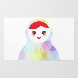 Russian doll matryoshka with bright rhombus on white background, rainbow pastel colors Rug