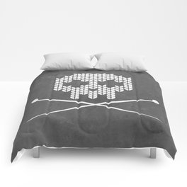 Knitted Skull (White on Grey) Comforters