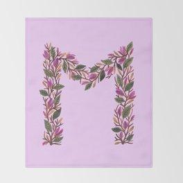 Leafy Letter M Throw Blanket