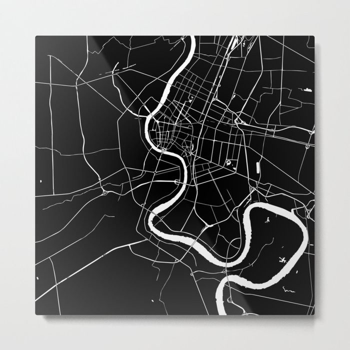 Bangkok Thailand Minimal Street Map - Midnight Black and White Metal Print
