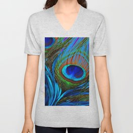 FLOWING BABY BLUE PEACOCK FEATHERS ART Unisex V-Neck