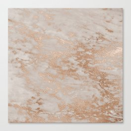 Rose Gold Copper Glitter Metal Foil Style Marble Canvas Print