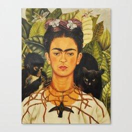 Frida Kahlo Self-Portrait Thorn Necklace and Hummingbird Canvas Print