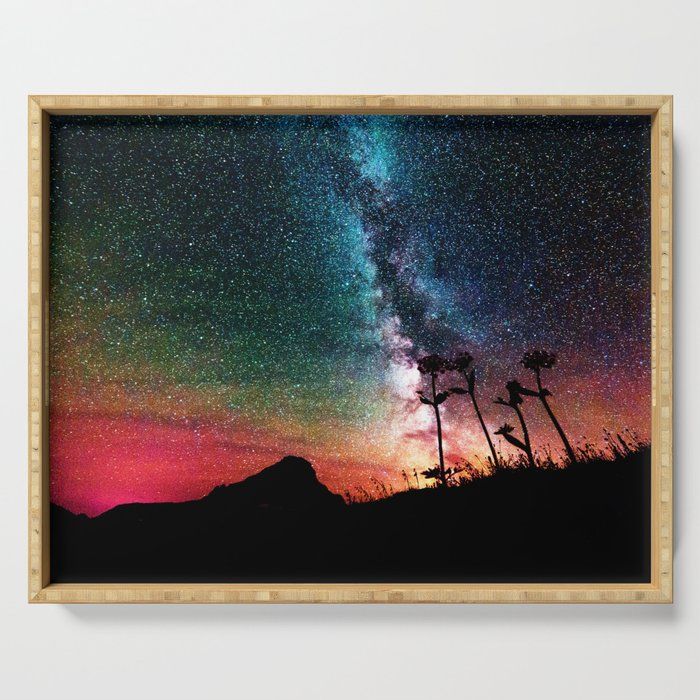 Colorful Milky Way Landscape Serving Tray