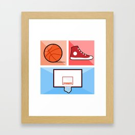 Iconic Basketball Collage Framed Art Print