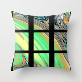 Black Window with Colorful Tiles Throw Pillow
