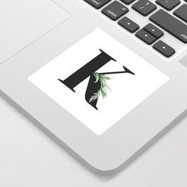 Letter K Initial Floral Monogram Black And White Poster Sticker