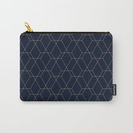 Dark blue and gold abstract geometric pattern with lines and squares Carry-All Pouch