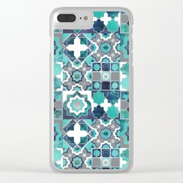 Spanish moroccan tiles inspiration // turquoise green silver lines Clear iPhone Case