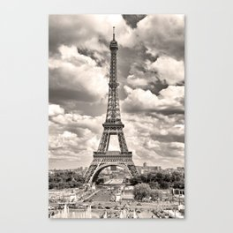 Eiffel Tower in sepia in Paris, France. Landmark in Europe Canvas Print