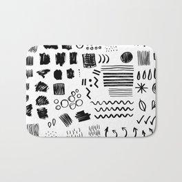 Modern black white watercolor brushstrokes shapes geometrical Bath Mat