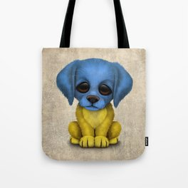Cute Puppy Dog with flag of Ukraine Tote Bag