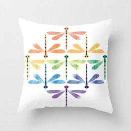 Rainbow Damselflies Throw Pillow