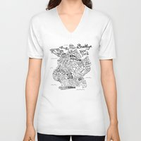 brooklyn V-neck T-shirts featuring Brooklyn Map by Claire Lordon