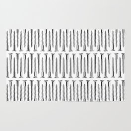 Silver Screws Background Rug