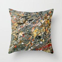 Jackson Pollock Interpretation Acrylics On Canvas Splash Drip Action Painting Throw Pillow