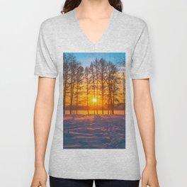 Winter sunset Unisex V-Neck