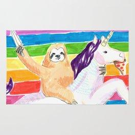 sloth and unicorn in rainbow Rug