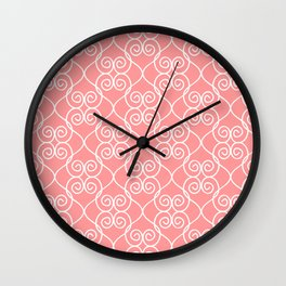White & Coral Hearts Wall Clock