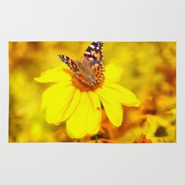Copper Butterfly In Gold Rug